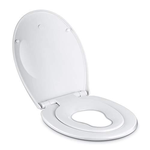 Amzdeal Copriwater, Sedile WC per Famiglie con Adattatore Bambino e Coperchio Integrati, Chiusura Rallentata, Rimozione Rapida per una Pulizia Facilitata, Forma 0, Bianco
