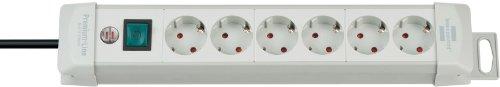 Brennenstuhl Premium-Line, Steckdosenleiste 6-fach (Steckerleiste mit Schalter und 3m Kabel- 45° Winkel der Schutzkontakt-Steckdosen, Made in Germany) grau