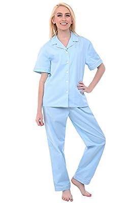 Alexander Del Rossa Women's Lightweight Button Down Pajama Set, Short Sleeved Cotton Pjs, Large Light Blue (A0518R54LG) by Alexander Del Rossa