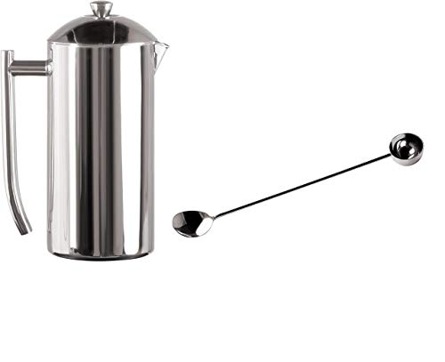 Frieling French Press Coffee Maker 36-oz Mirrored Finish and Extra 1-Tablespoon Coffee Scoop and Stirrer, 18/10 Stainless Steel Set