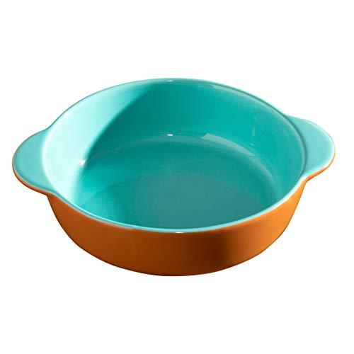Hairy Bikers CKW2060 Plato de tapas de gres (18 x 15 x 4,5 cm), ideal para cocinas en el hogar, diseño de color en contraste (verde azulado y terracota)