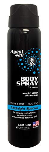 Agent 420 Daily Fragrance Body Spray - Long Lasting, Breaks Down and Destroys Smoke Odor at The Molecular Level - Eliminates Odors from Hair, Body and Clothes - 3.5 oz Spray (1 Pack, Midnight Special)