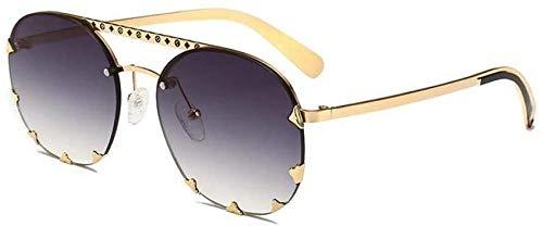 NIUASH Gafas de Sol polarizadas Las más Nuevas Gafas Redondas Rojas para Mujer Gafas de Sol graduadas para Mujer Gafas de Sol Redondas de piloto Remache-C2_Gold_Gray