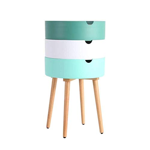 Shelves Nightstand, 3 Layered Bedside/End Table, 40 Diameter X 74(H) Cm Round Shape Solid Wood Bedroom Living Room Multifunction Locker (Color : Green),Colour:White Flower Pot Rack ( Color : Green )