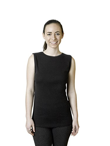Rosette Woman's Cotton Sleeveless Undershirt, Smooth and Seamless Tank Top, Medium, Black