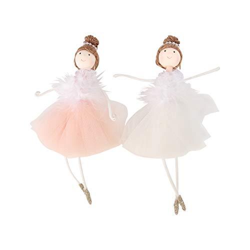 LUOEM 2 Piezas Bailarina niña Colgantes muñecas de Navidad Juguetes para decoración Blanco y Rosa
