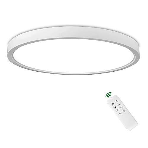Rund 24W LED Deckenlampe mit Fernbedienung, weiße flache Deckenleuchte Ø30cm Warmweiß 3000 K bis Tageslicht 6500 K dimmbar mit stufenlos verstellbarer Lichtstärke, Lampe IP40 für Wohnzimmer Küche Bad