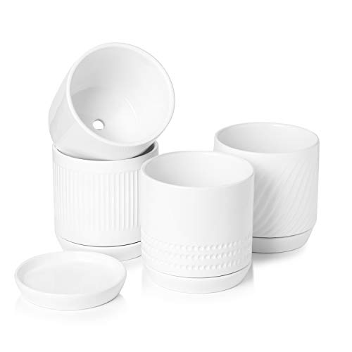 POTEY 053001 Plant Pots with Drainage Holes & Saucer - 5.1 Inch...