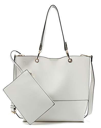 Scarleton Stylish Reversible Tote Handbag for Women, Vegan Leather Shoulder Bag, Hobo bag, Satchel Purse, H1842208202, Off White