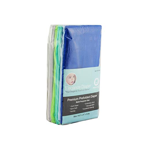 Elegance Diaper, Prefold Cloth Diaper Regular 4x6x4 6 Pack 100% Cotton (Gray)) (BOY Assorted)