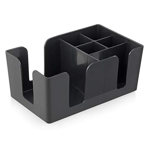 New Star Foodservice 48001 Plastic Bar Caddy Organizer with 6 Compartments, Black