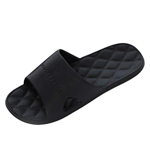 RQWEIN Lightweight Women/Men's Slip On Slippers Non-Slip Shower Sandals House Pool Shoes Bathroom Slide Water Shoes(Black,9.5