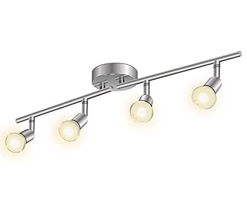 LED Strahler Deckenleuchte, 4-flammiger Deckenstrahler, 4x3W Leuchtmittel GU10, 3000K warmweiß dreh- schwenkbar Spotbalken, Nickel Leuchten Balken