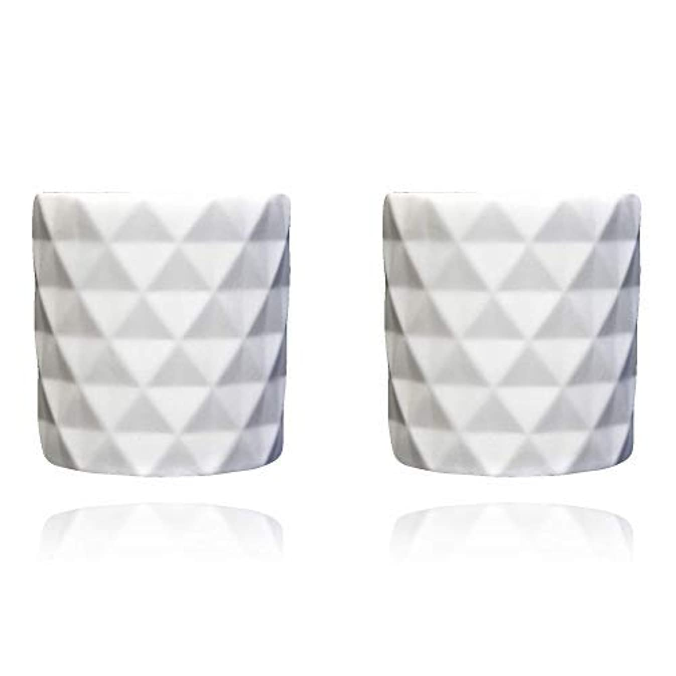 Diamonds Pattern Ceramic Candle Containers - Perfect for Making Candles - Set of 2, White Color Clay, Eco-Friendly, Decorations for Wedding, Party, Christmas, Halloween - WIKs Candle Making Supplies