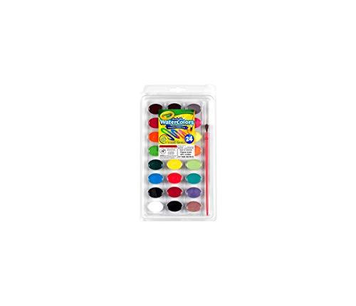 Crayola I Lavabilissimi - Set da 24 Acquerelli con pennello, colori assortiti, per scuola e tempo libero, 53-0524