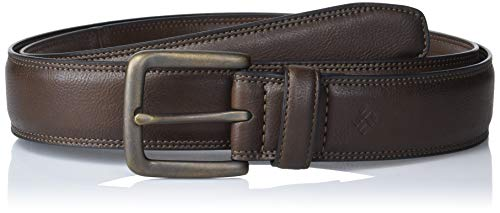 Columbia Men's Big & Tall Classic Logo Belt Dress with Single Prong Buckle for Jeans Khakis, Brown Casual, 3X