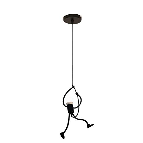 Wrought Iron Humanoid Chandelier Hanging Lamp Cafe Chandelier for Living Room Hallway Restaurant with 5W Bulb (Black Warm Light)
