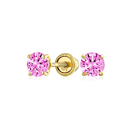 Minimalist Tiny Cubic Zirconia Pink Simulated Pink Topaz CZ Round Solitaire Stud Earrings Real 14K Yellow Gold Screwback 3MM