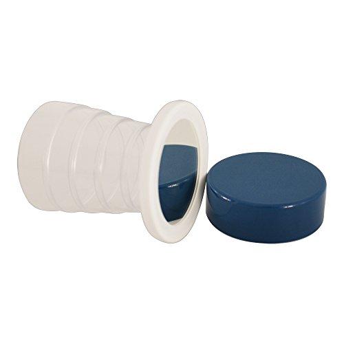 Klappbecher transparent mit Spiegel, DDR Inhalt ca. 125 ml Farbe transparent/blau