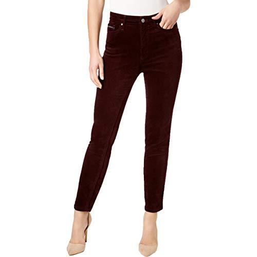 Calvin Klein Women's Velvet High Rise Ankle Skinny Pant, Classic Plum, 31
