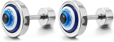Mens Womens Stainless Steel Evil Eye Circle Stud Earrings with Blue Resin Screw Back 2pcs product image