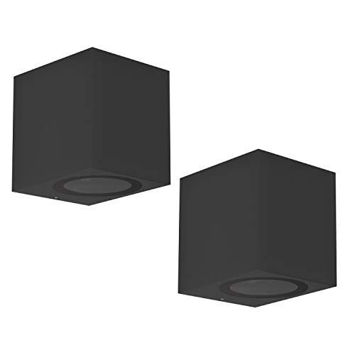 ledscom.de Außenleuchte ALSE Downlight, Outdoor, schwarz, Aluminium, eckig, GU10, 2 Stk.