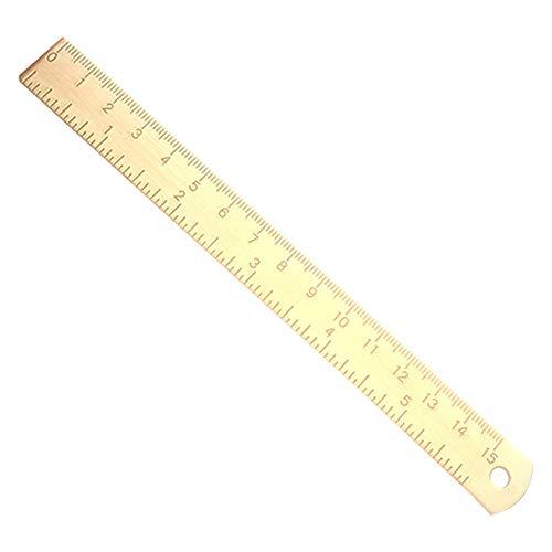 Vektenxi 15cm Gold Vintage Messing gerade Lineal Metall Kupfer Lesezeichen, Mini gerade Lineal Messing langlebig und praktisch