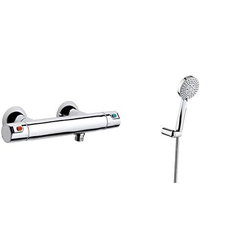 Roca A5A1318C00 Termostato, cromo + Stella Set de ducha. incluye ducha de mano de 100 mm de 3 funciones, soporte de ducha articulado y flexi . Duchas y rociadores. Ref.A5B1C03C00
