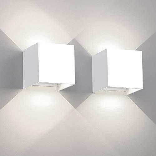 Wandlampe 12W 2er Pack dekorative Wandleuchte Innen IP65 LED Wandleuchte einstellbar Abstrahlwinkel Außenwandleuchten schwarzes Aluminium 6000K Weiß