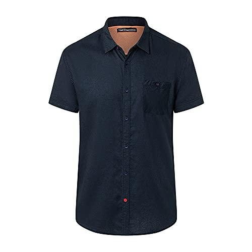 Timezone Herren Soft Linen Shortsleeve Shirt Hemd, total Eclipse, XL