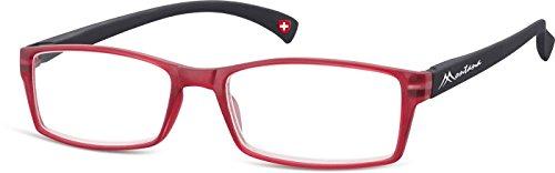 Montana Eyewear Sunoptic MR75B +3.00 leesbril in rood, inclusief softeetui, transparant