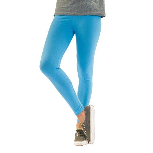 Blickdichte Damen Leggings aus Baumwolle Leggins Knöchellang in schwarz weiß grün grau rot gelb, Farbe: Hellblau, Größe: 40-42 (XL)