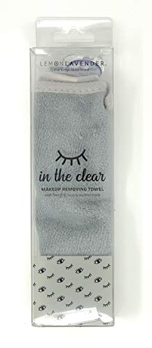 Lemon Lavender In the Clear Makeup Removing Towel with Hanging Loop and Suction Hook (Gray)