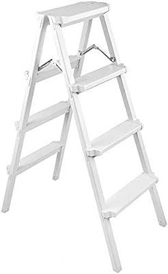 YZjk Taburete Plegable fácil y Multifuncional, Taburete de 4 peldaños Taburete Ligero Escalera portátil de ingeniería Escalera de aleación de Aluminio Taburete Alto, Blanco: Amazon.es: Hogar