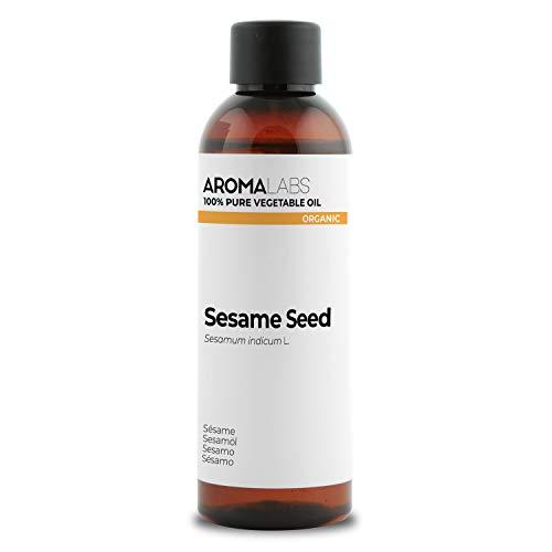 BIO - Aceite vegetale de Sésamo - 100ml - garantizado 100% puro, natural y prensado en frío - Orgánico certificado por Ecocert - Aroma Labs