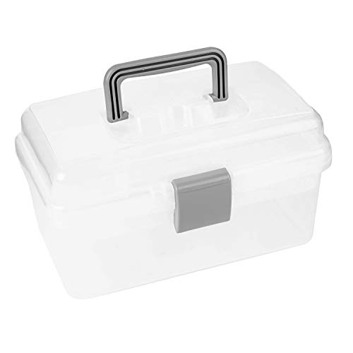 Tosnail 10-Inch 2 Layers Clear Plastic Craft Organizer Box Storage Container for Sewing, Painting, Arts