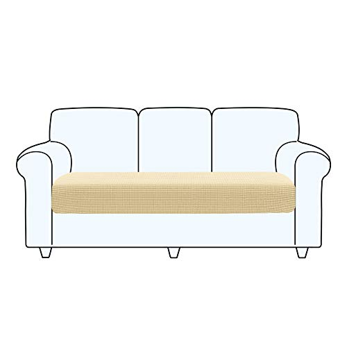 TAOCOCO Fundas de cojín para sofá,Protector de cojín de Asiento de Tela de poliéster de Alta Elasticidad (Beige, 3 Asientos)