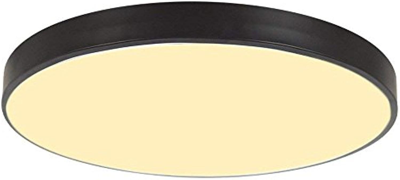 SEEKSUNG Runde Deckenlampe,Ultra-dünne LED Deckenleuchte,Strke 5 cm Kinder Deckenlampe für Wohnzimmer Schlafzimmer Kinderzimmer Restaurant Balkon Innenbeleuchtung,Dreifarbiges Dimmen,schwarz,M