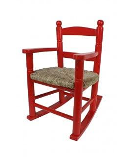 CAL FUSTER - Mecedora Infantil de Madera Asiento de anea Color Rojo decoración habitación niño niña Regalo Original. Medidas: 53xx34x42 cm.