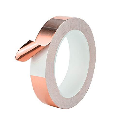 QitinDasen 30M X 20mm Premium Cobre Lámina Cinta, Cinta Cobre Conductora, para Blindaje EMI, Circuitos de Papel, Reparaciones Eléctricas, Repelente de Babosas