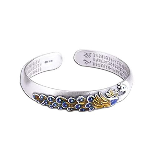 ZiFei 999 Sterling Silber Armreifen für Frauen Pfau Gravierte Vintage Emaille Manschette Armbänder Feiner Schmuck