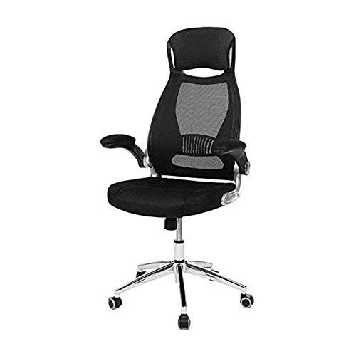 JJSFJH Bürostuhl mit Rückenlehnen-High-Rücken-Stuhl-justierbarer PU-Kopfstütze und Armlehnenschwenk