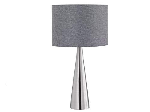 Tischlampe COSINUS mit LED, Stoffschirm grau Ø 30cm, Hockerleuchte 55 cm, Trio Leuchten