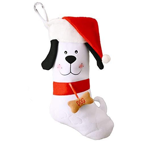 Lindo Perro Medias de Navidad Bolsa Colgante de Hueso Calcetines de decoración de Chimenea Soportes de Regalos de Dulces de año 18 Pulgadas, A, Hungría