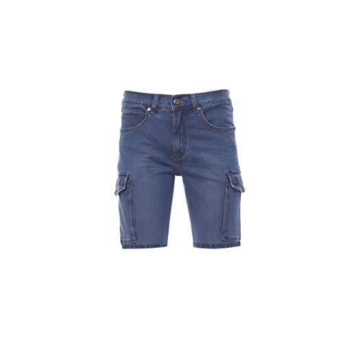 PAYPER Jeep Bermuda da Uomo Taglio Jeans Misto Cotone tasconi Laterali Chiusura con Zip Effetto Consumato Light Blue (52)