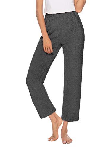 ORANDESIGNE Pantalones de Pijama de Lana Borrosa de Invierno para Mujer Pijamas Cálidos Homewear Casual de Felpa Inferior Ropa de Dormir Pajama Pants