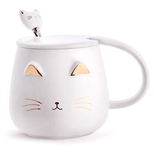 Angelice Home Weiße Katzentasse, süße Kitty, Keramik-Kaffeetasse mit Edelstahl-Löffel, Neuheit Kaffeetasse für Katzenliebhaber, Frauen und Mädchen