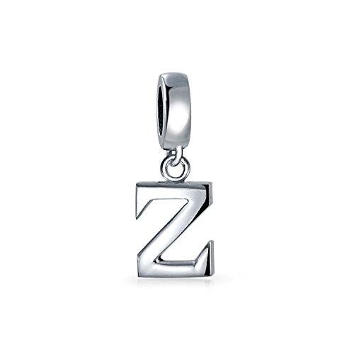 Personalizado regalo bloque carta Z alfabeto inicial colgante encanto cuenta para las mujeres para adolescente .925 plata de ley para pulsera europea