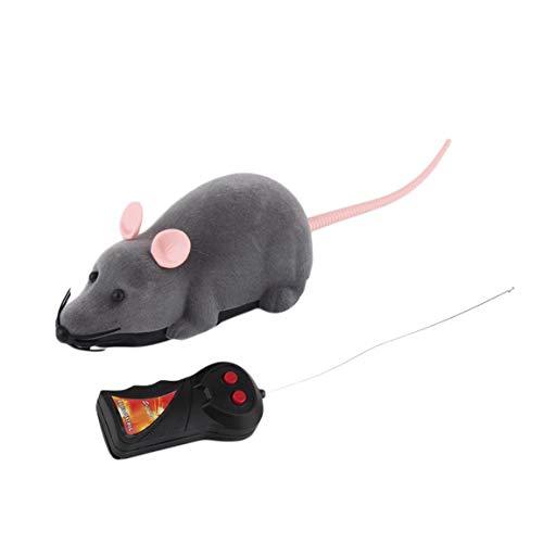 Garciasia Control Remoto inalámbrico Ratón Simulación de plástico Animales Rata electrónica Divertido Movimiento Ratones Juguete Mascota Gato Juguete (Color: Gris)