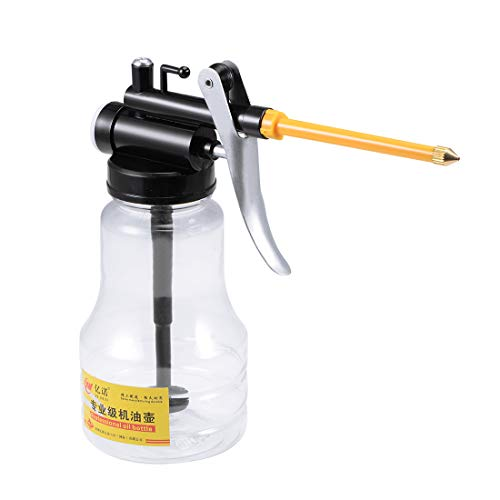 uxcell Oil Can Pump Oiler,250ML Transparent High Pressure Oiler Lubrication Oil Gun Can Bottle Flex Manual Oil With Rigid Spout Thumb Pump Tool
